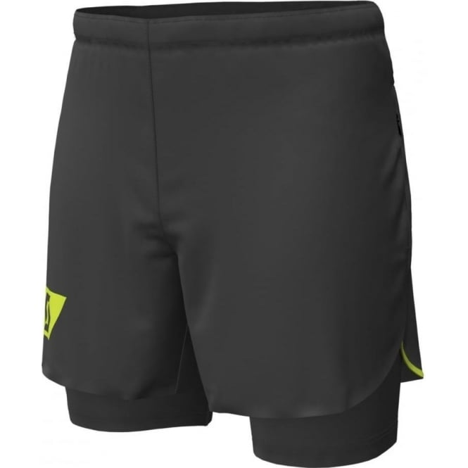 Scott RC Run Hybrid Mens Twin Running Shorts with Inner Stretch Brief Black/Yellow