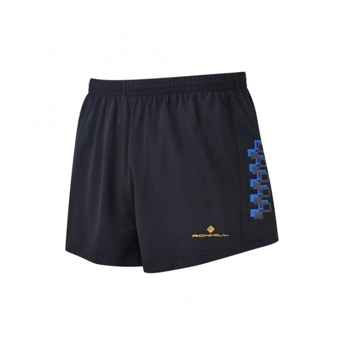 Ronhill Men's Stride Cargo Racer Shorts Black/Electric Blue