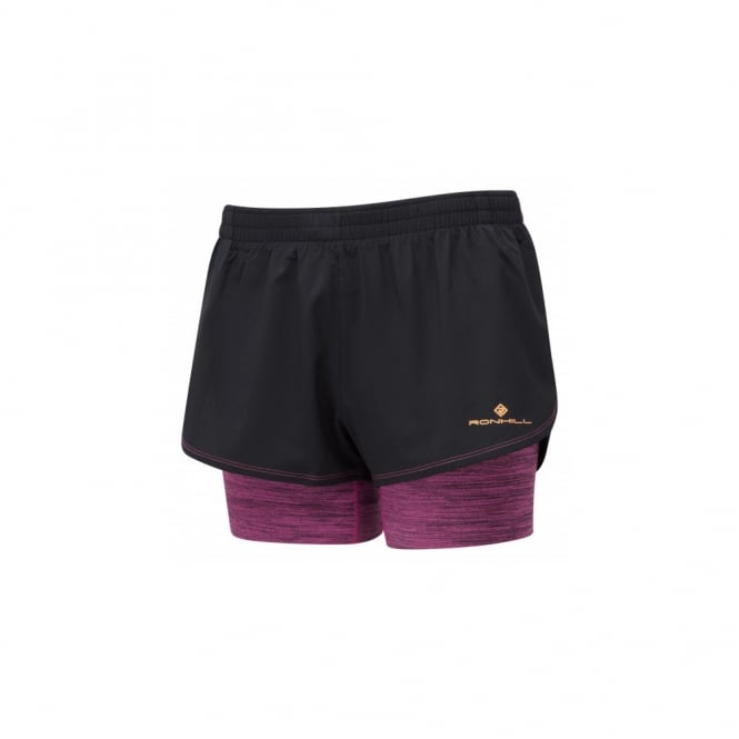 Ronhill Stride Twin Womens Running Shorts with Lyrcra Inner Short Black/Razz Marl