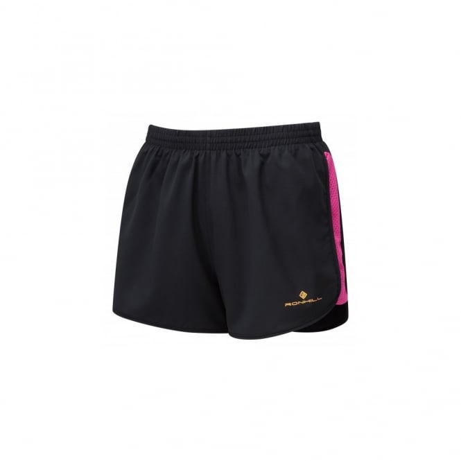 Ronhill Momentum Glide Womens Lightweight & Breathable Running Shorts Black/Razzmatazz