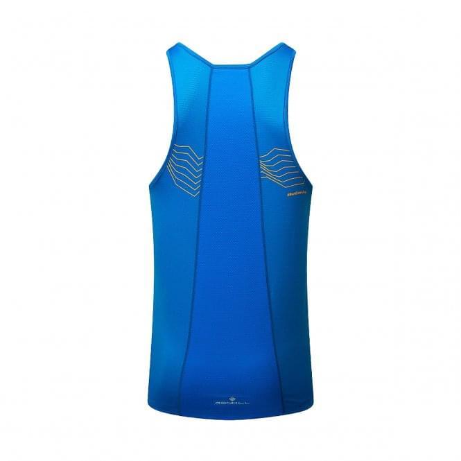 Ronhill Stride Racer Mens Breathable & Sweat Wicking Running Vest/Singlet Electric Blue
