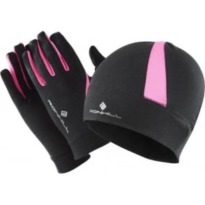 Ronhill Vizion Beanie Hat and Glove Set Black/Fluo Pink