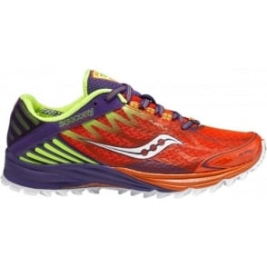 Saucony Peregrine 4 Minimalist Trail Running Shoes Orange/Purple/Citron Women's