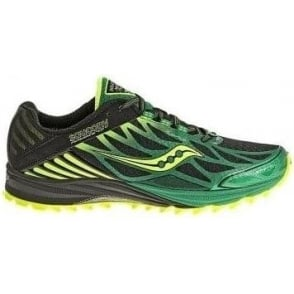 Saucony Peregrine 4 Trail Running Shoes Black/Green/Citron Mens