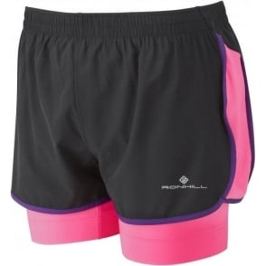Ronhill Vizion Twin Short Black/FluoPink/Wildberry Womens