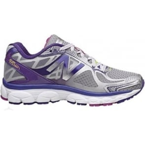 New Balance 1080 V5 Road Running Shoes Silver/Purple (B WIDTH - STANDARD) Womens
