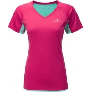 Ronhill Aspiration Short Sleeve Tee Cerise/Aquamarine Womens