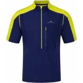 Ronhill Trail Short Sleeve Zip Tee Midnight Blue/Sun Mens