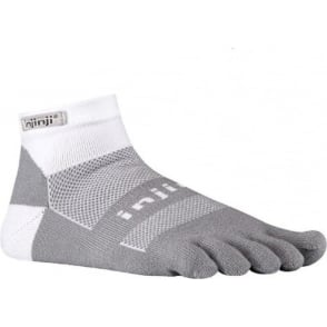 Injinji Socks Run Midweight Mini Crew White/Grey Running Toe Socks