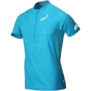 Inov8 AT/C Base Short Sleeve Half Zip Tee Blue Mens