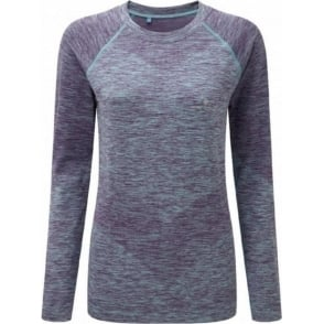 Ronhill Space Dye Long Sleeve Tee Elderberry/Peppermint Marl Womens