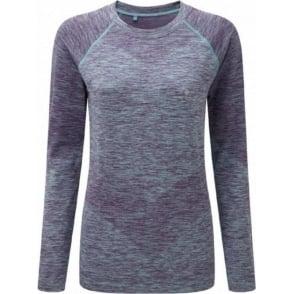 Ronhill Space Dye Long Sleeve Tee Elderberry/Peppermint Marl Womens