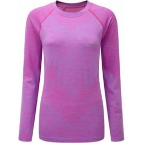 Ronhill Space Dye Long Sleeve Tee Fluo Pink/Marl Womens