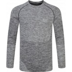 Ronhill Space Dye Long Sleeve Tee Grey Marl Mens