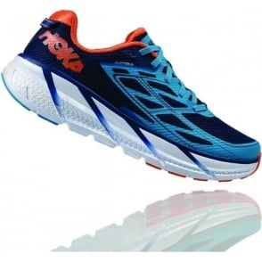 Hoka Clifton 3 Medieval Blue/Red Orange Mens