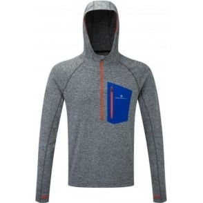 Ronhill Men's Momentum Victory Hoodie Grey Marl/Flame Red