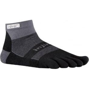 Injinji Socks Run Midweight Mini Crew Running Socks Black/Grey Running Toe Socks
