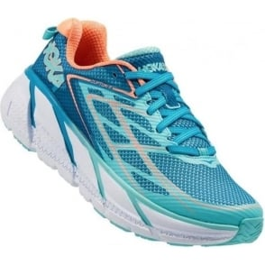 Hoka Clifton 3 Blue Jewel/Neon Coral Womens