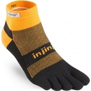 Injinji Socks Run Midweight Mini Crew Tangerine Running Toe Socks