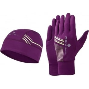 Ronhill Running Beanie and Glove set Grape Juice/FYel