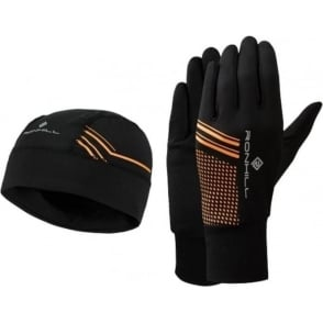 Ronhill Running Beanie and Glove set Black/Fluo Orange