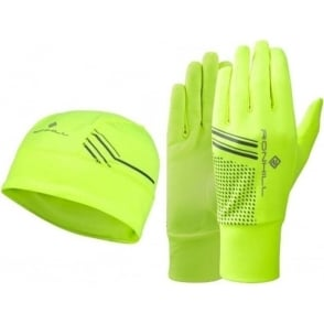 Ronhill Running Beanie and Glove set Fluo Yellow/Black