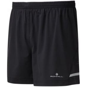"Ronhill Mens Stride 5"" Running Shorts Black/Charcoal/FYel"