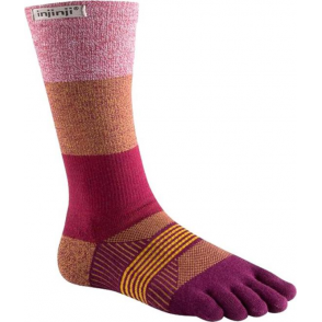 Injinji Socks Trail Midweight Crew Womens Running Toe Socks - Pomegranate