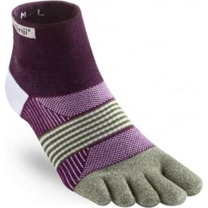 Injinji Socks Trail Midweight Mini-Crew Womens Running Toe Socks - Mulberry