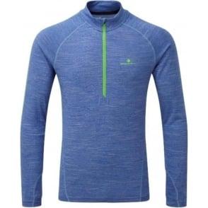 Stride Thermal 1/2 Zip Mens Long Sleeve Running T-Shirt Cobalt Marl/Gecko