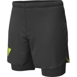 Scott RC Run Hybrid Mens Twin Running Shorts with Inner Stretch Brief Black/Yellow