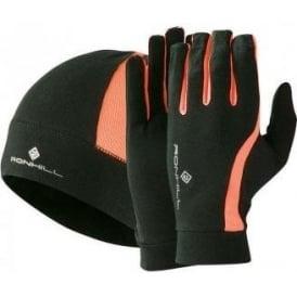 Ronhill Vizion Beanie Hat and Glove Set Black/Fluo Orange