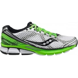 Saucony PowerGrid Triumph 10 Road Running Shoes White/Black/Slime Green Mens