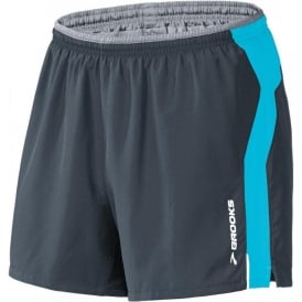 "Brooks 5"" Essential Run Short Black/UltraMarine Mens"
