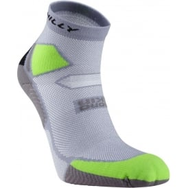 Hilly Skyline Anklet Running Socks Grey/LimeGreen/Black