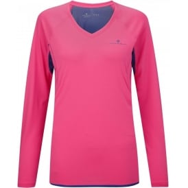 Ronhill Vizion Long Sleeve Running Tee Shirt Fluo Pink/Wildberry Womens