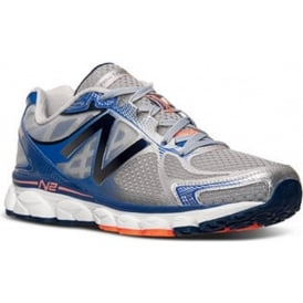 New Balance 1080 V5 Road Running Shoes Silver/Blue (2E WIDTH - WIDE) Mens
