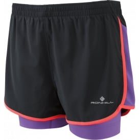 Ronhill Aspiration Twin Short Black/Royal Purple Womens
