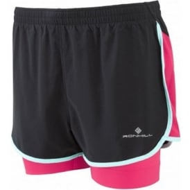 Ronhill Aspiration Twin Short Black/Cerise Womens