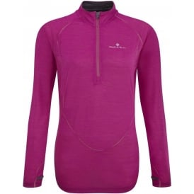 Ronhill Merino Long Sleeve Tee Magenta/Yellow Womens