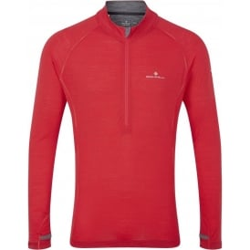 Ronhill Merino 200 1/2 Zip Tee Red Mens