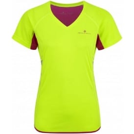 Ronhill Vizion Short Sleeve Crew AW15 Yellow/Magenta Womens