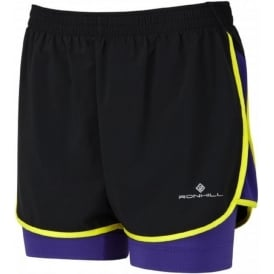 Ronhill Aspiration Twin Short Black/Electric Purple Womens