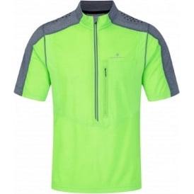 Ronhill Trail Short Sleeve Zip Tee Fluo Green/Granite Mens