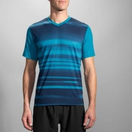 Brooks Fly-By Short Sleeve Tee Heather River Blur Mens