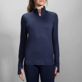 Brooks Dash 1/2 Zip Heather Navy Womens
