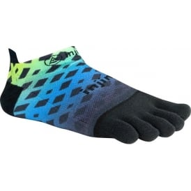 Injinji Socks Run Lightweight No Show Abstract Lime/Blue Running Toe Socks