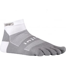 Injinji Socks Run Midweight Mini Crew White/Grey