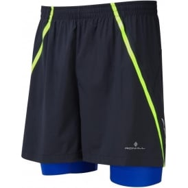 "Ronhill Advance 5"" Twin Short Black/Cobalt/Fluo Yellow Mens"