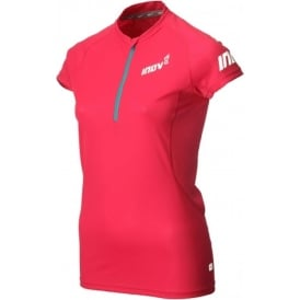 Inov8 Base Short Sleeve Zip Tee Pink Womens